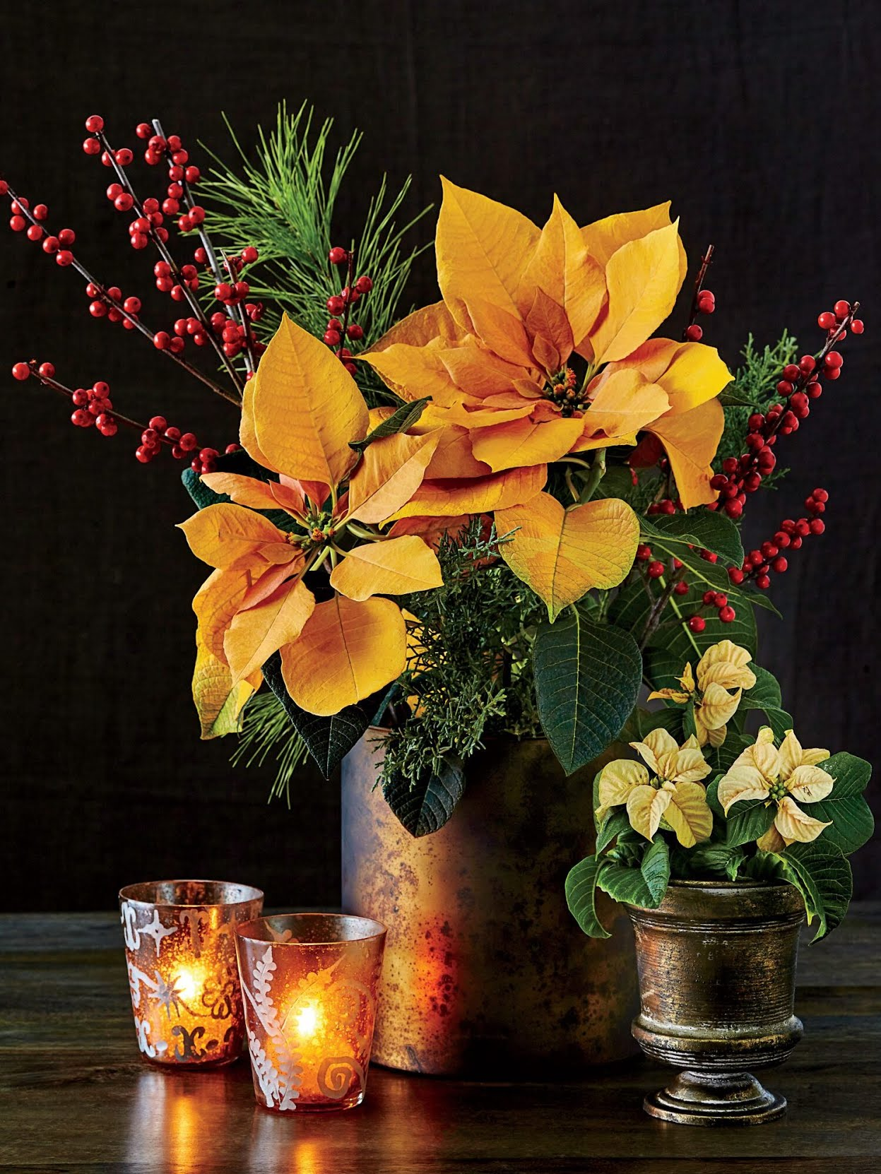 Gold Poinsettia Flower Arrangement